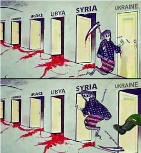 Obrázek znázorňující ruský zásah proti americkému vměšování na Ukrajině